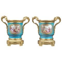 Pair of Louis XVI Style Turquoise Ground Sèvres Style Jardinières, circa 1870