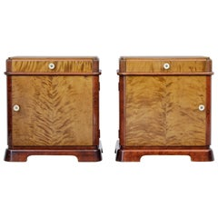 Pair of Late Art Deco Scandinavian Birch Bedside Cabinets