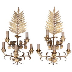 1970s Pair of Spanish Five-Arm Iron Sconces with Floral Motifs