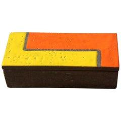 Raymor Bitossi Ceramic Box Mondrian Orange Red Yellow Brown, 1960s