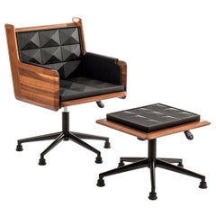 Lounge Chair, International Style Wooden or Leather Lounge Chair