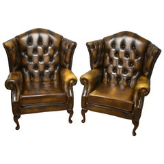 Late 20th Century Pair of Chesterfield Button Back Armchairs