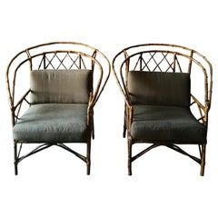 Unusual Pair of Bamboo Chairs