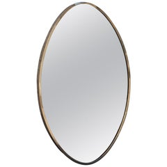 Oval Mid-Century Modern Wall Mirror Italian Design 1950s Brass Edge Gold