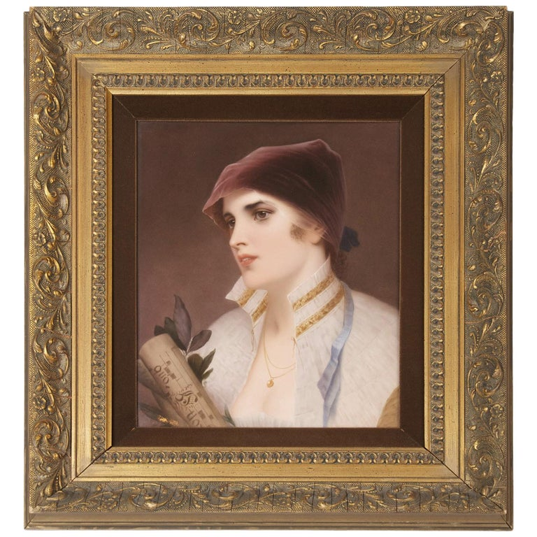 Very Fine KPM Porcelain Plaque of a Young Woman, circa 1890 For Sale