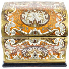 19th Century Gilt Brass Inlaid Fall Front Stationery Casket