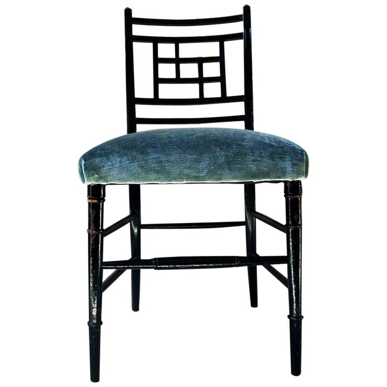 Aesthetic Movement Ebonized Side Chair in the Manner of E.W. Godwin For Sale