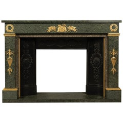 Empire Style Gilt Bronze-Mounted Green Granite Fireplace, circa 1850