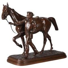 Animalier Bronze Study 'Horse & Groom' by Isidore Bonheur