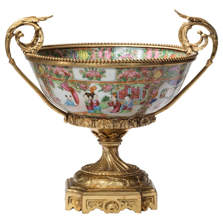 Fine 19th Century Chinese Gilt Mounted Canton Centrepiece For Sale