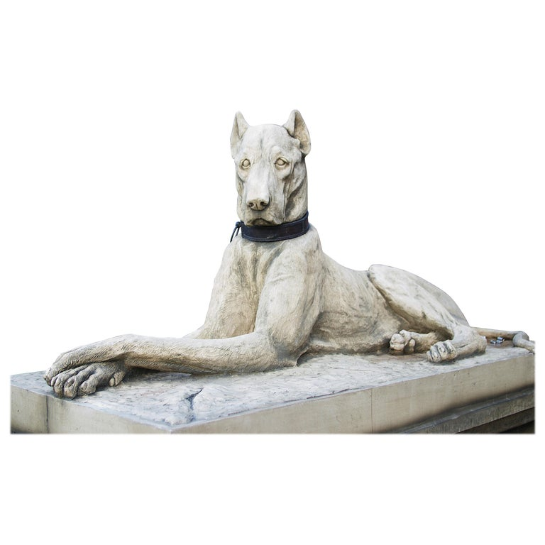 Pair of Large Hounds on Plinths For Sale