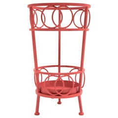 Mid-Century Modern Cherry Red Umbrella Stand Metal Austria, circa 1970
