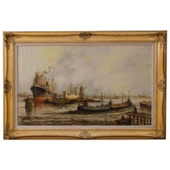20th Century Oil on Canvas Dutch Seascape with Boats Signed Painting, 1960