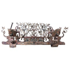 19th Century Sicilian Cart Element in Polychrome Wood and Wrought Iron