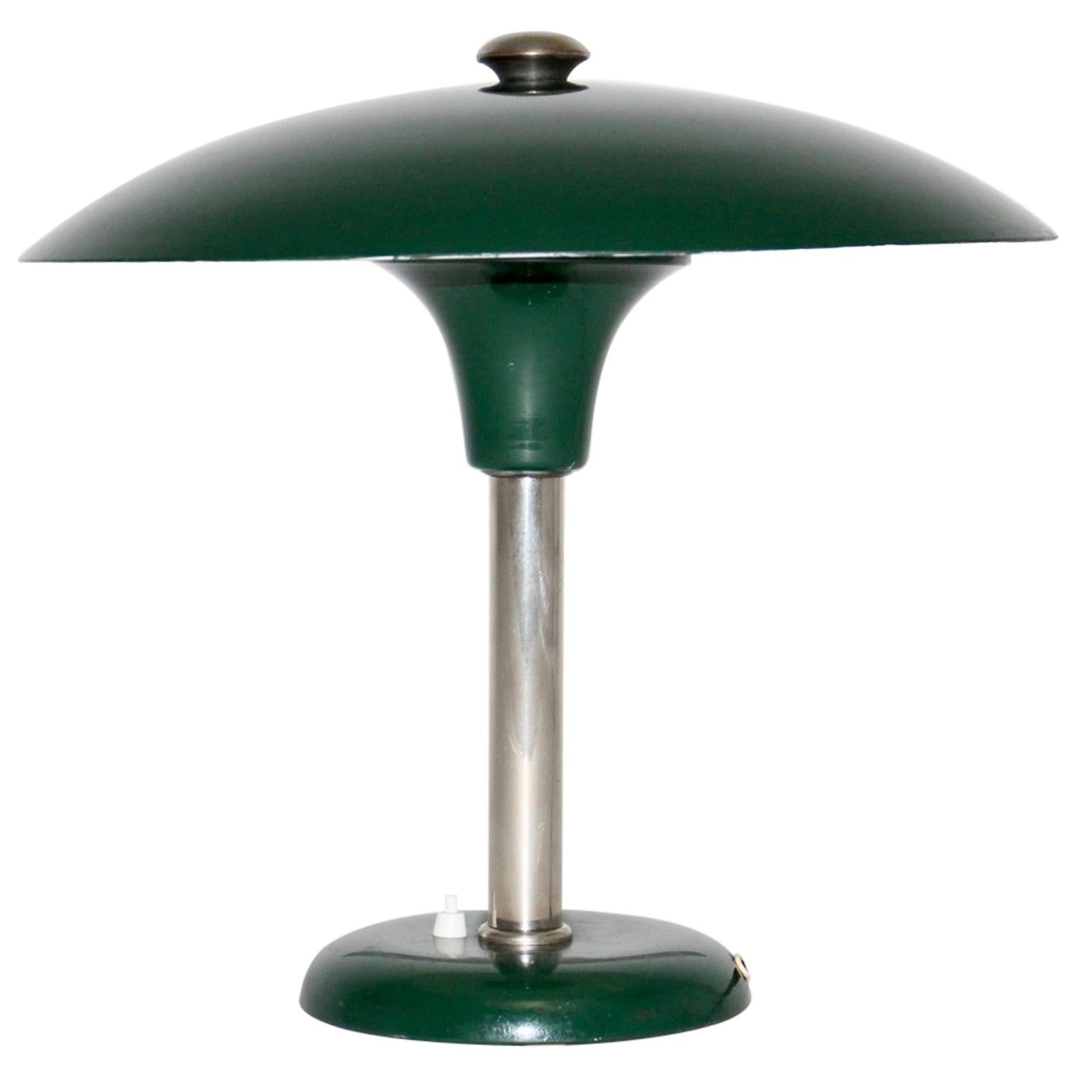 Green Bauhaus Art Deco Vintage Table Lamp Metal by Max Schumacher, 1934, Germany