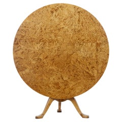 19th Century Root Veneer Circular Tilt-Top Table