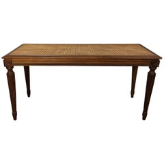 Late 19th Century Louis XVI Cane Piano Bench in Beech