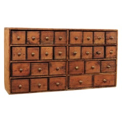 Pine Hanging Spice Rack with 27 Drawers with Brass Knobs, England ca. 1900