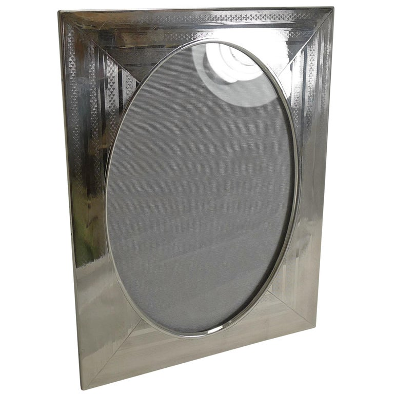 Large Antique English Sterling Silver Photograph Frame, 1916 For Sale