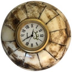 Camel Bone Round Desk Clock