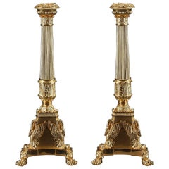 19th Century Restauration Large Candelabra in Gilt Bronze
