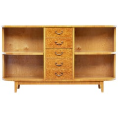 Mid-20th Century Burr Birch Low Open Bookcase