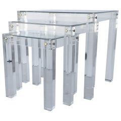 Set of Vintage Lucite and Glass Nesting Tables