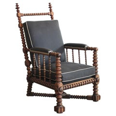 Oak Bobbin Turned Library Armchair