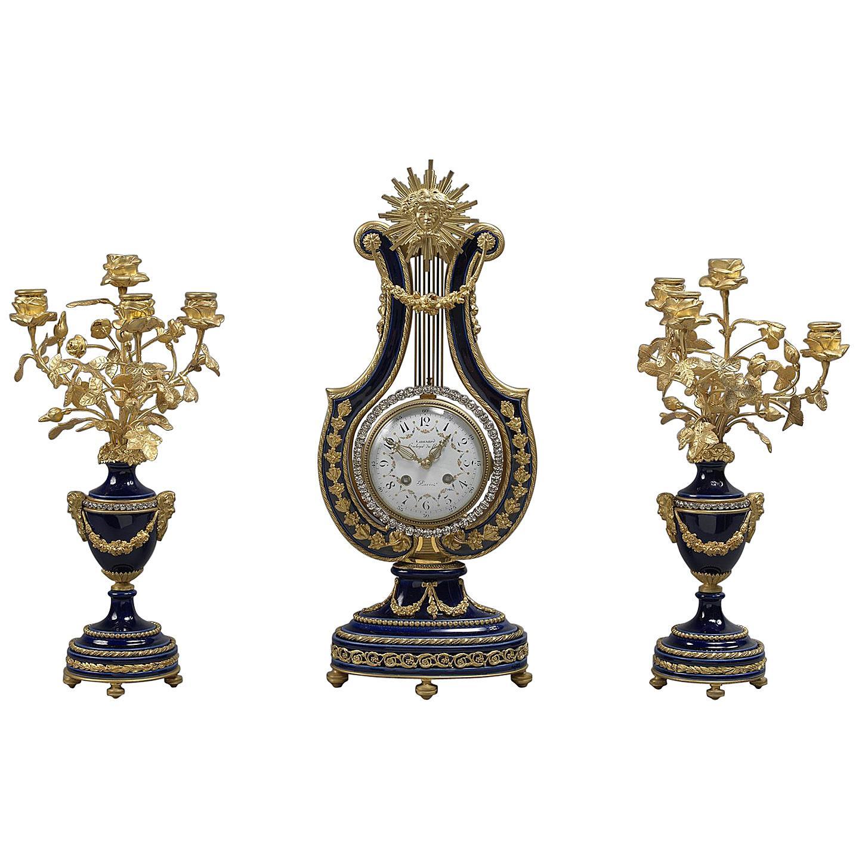 Louis XVI Style Porcelain and Gilt-Bronze Lyre Clock Garniture, circa 1900