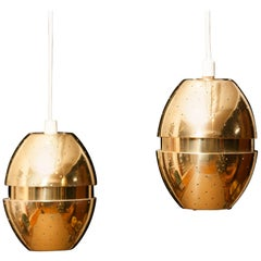 Pair of Brass 'Egg' Pendants by Hans-Agne Jakobsson, 1960s