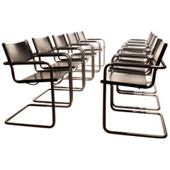 1970s Set of Ten Tubular Steel and Leather Dining Chairs by Matteo Grassi