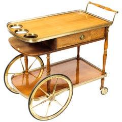 Midcentury English Birchwood Hostess Trolley Dry Bar 20th Century