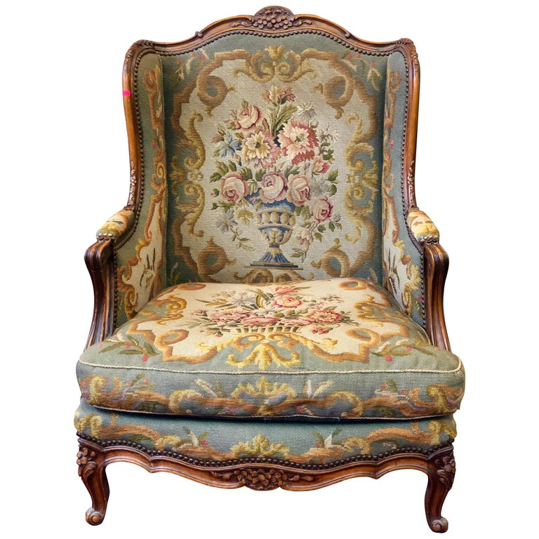 Antique Fauteuil Bergere Carved Wood Wingback Tapestry