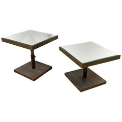 Midcentury Lorin Marsh Telescoping Square Side End Tables Bevelled Mirror, Pair