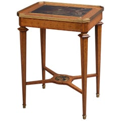 Marquetry Inlaid Table with a Lacquer Top Retailed by Boin Taburet, circa 1880