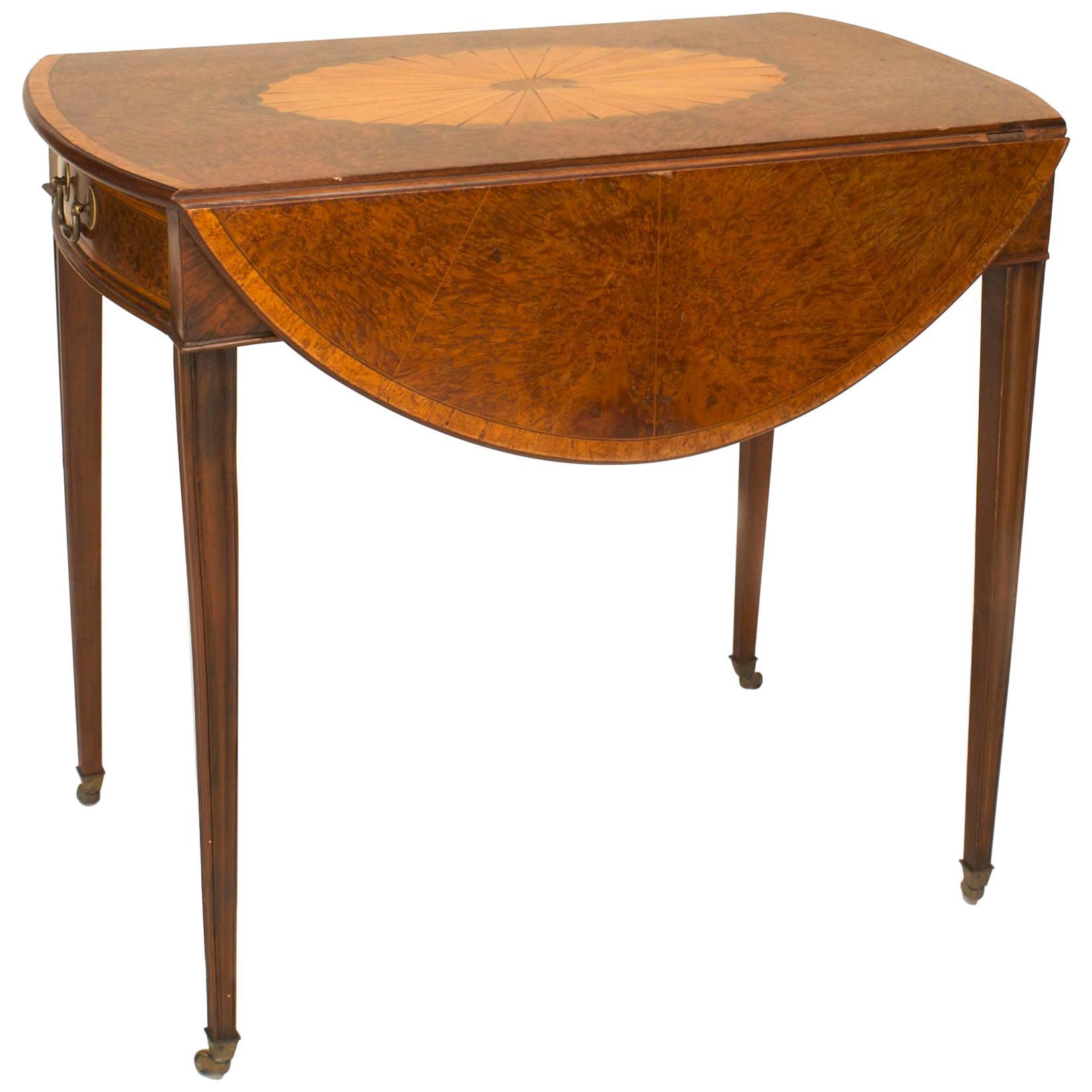 English Georgian Burl Wood Pembroke Table, 18th Century