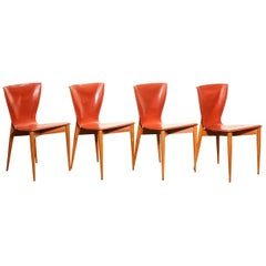 1970s Set of Four 'Vela' Dining Chairs by Carlo Bartoli for Matteo Grassi