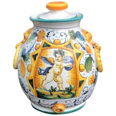 Majolica Cupid Angel Italian Hand Painted Small Jar or Vase