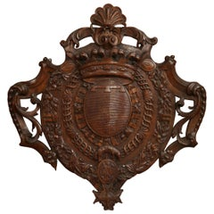 Mid-19th Century French Louis XV Carved Chestnut Wall Mounted Shield Sculpture