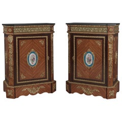 Pair of Walnut Side Cabinets with Sèvres-style Porcelain Mounts, circa 1880