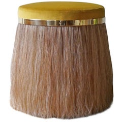 Thing 1 Stool with Polished Brass and Horse Hair