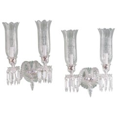 Pair of Baccarat Glass Wall Appliques