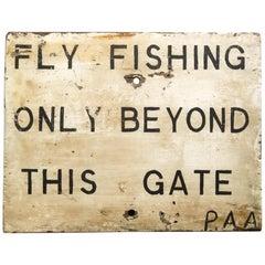 Mid-20th Century English 'Fly Fishing' Naive Hand Painted Sign, Original