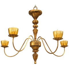 French Louis XVI Style Gilt Metal Chandelier