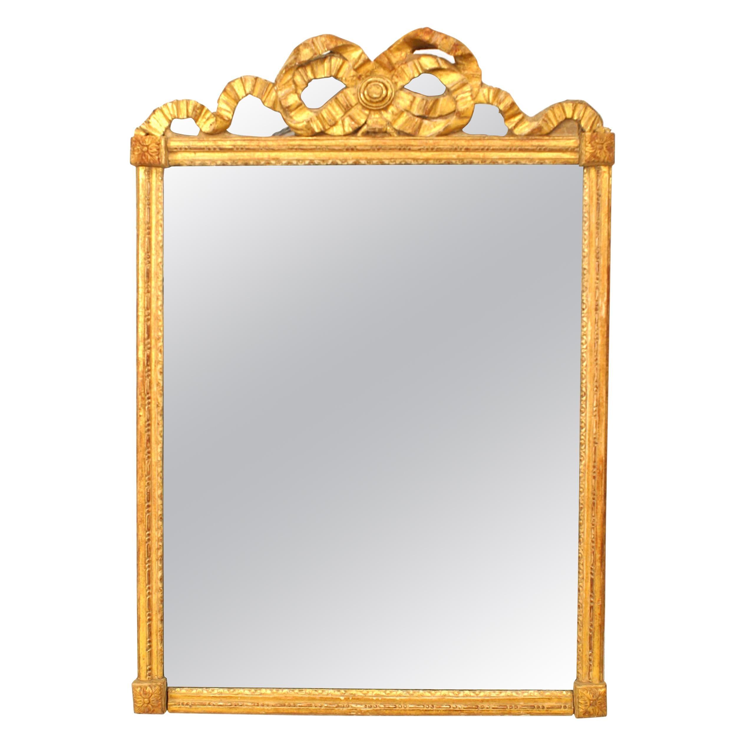 French Louis XVI Style Giltwood Wall Mirror