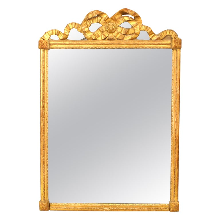 French Louis XVI Style Giltwood Wall Mirror For Sale