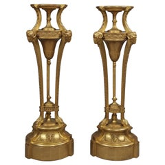 Pair of Giltwood and Gesso Pedestals, in the Manner of Robert Adam, circa 1890