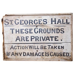 Hand Painted Wooden Sign, circa Late 19th Century