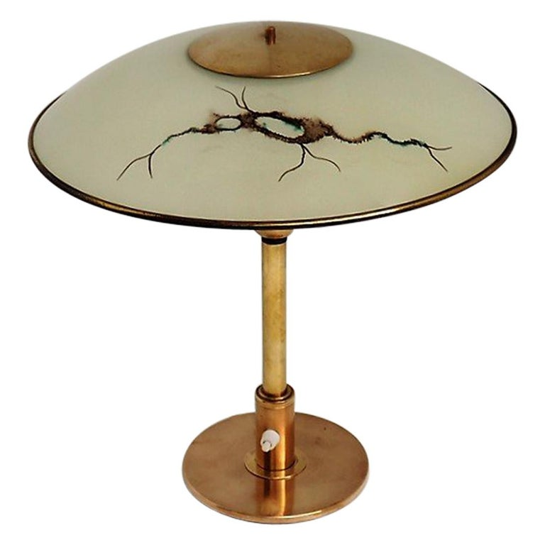 Brass Table Lamp with Glass Shade, Rare Danish Vintage Design from the 1940s For Sale
