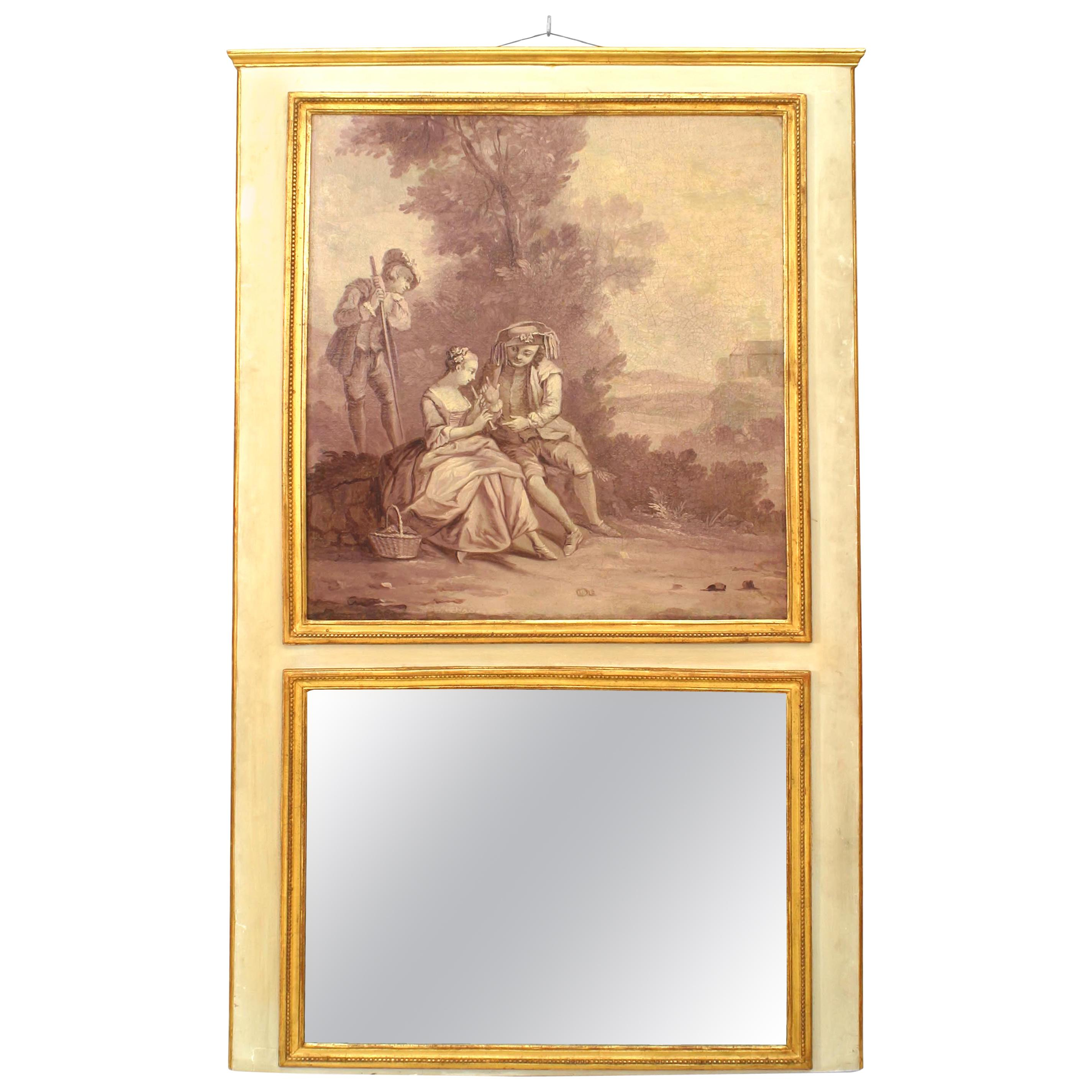 Louis XV Style Painted Romantic Scene Trumeau / Wall Mirror